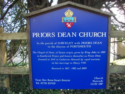 Sign at Priors Dean Church